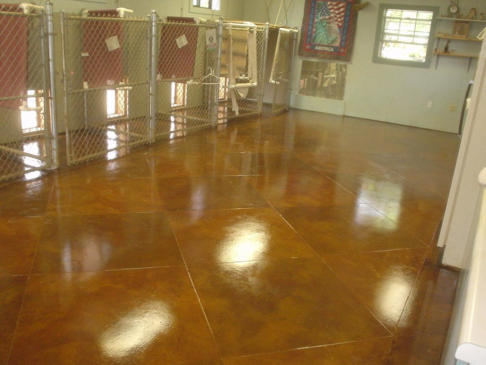 Terracotta and Rust Brown Stained Concrete