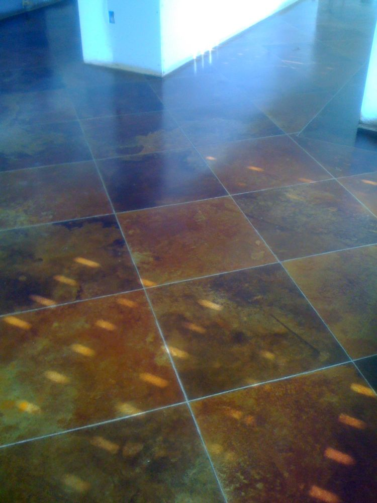 Rust Brown and Terra cotta Stained Concrete