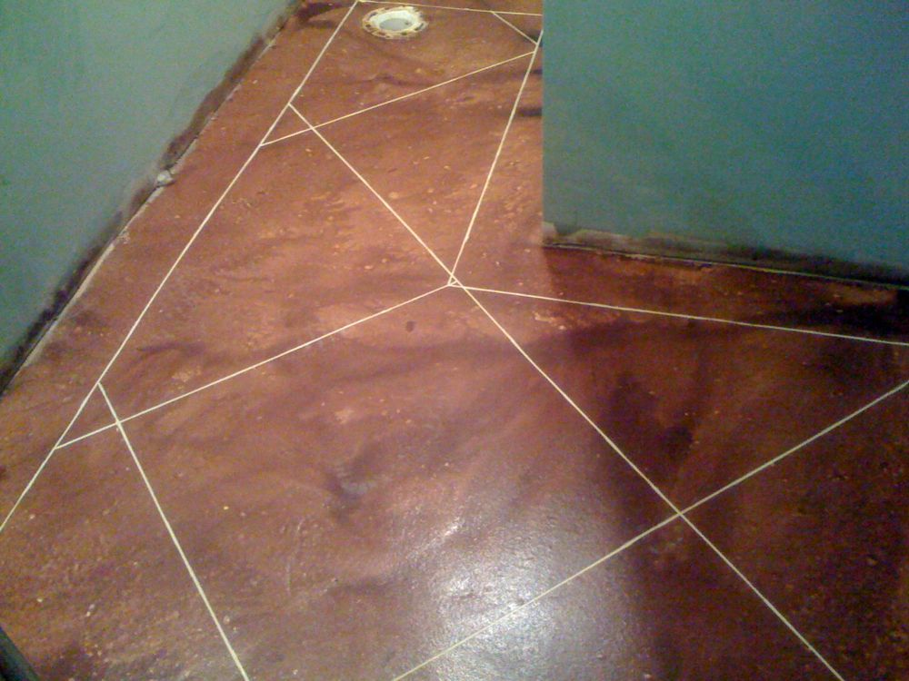 Rust Brown Stained Concrete Overlay
