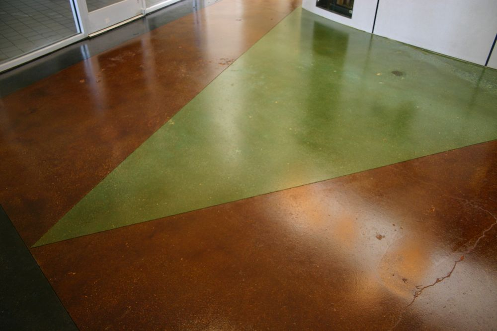 Terra Cotta, Lime Green and Black Stained Concrete