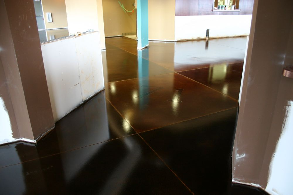 Rust Brown and Walnut Stained Concrete